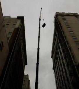 crane lift hvac during installation at yeon building
