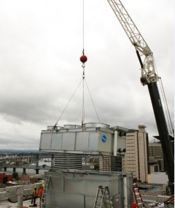 crane lowering bac during installation
